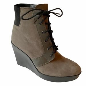 Zara Suede Lace Up Wedge Boots